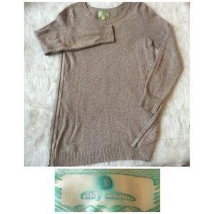 Ruby Moon Anthropologie Sweater Tan Zip Pullove